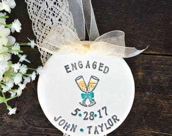 Personalized Engagement Ornament - Champagne Toast Ceramic Ornament, Wedding Ornament, Engagement Gift Idea , Gift for Couple