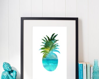 Pineapple Wall Art, Instant Download,Pineapple Print, Palm Leaf Print, Beach pineapple Print, Beach Art, tropical Art,Pineapple Art print,