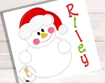 Snowman Santa Embroidery Applique - 3 Sizes - Instant EMAIL With Download - for Embroidery Machines