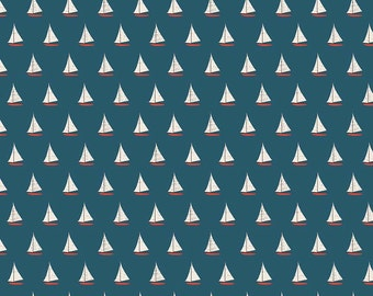 Nautical Fabric - Riley Blake Fabric Offshore Mini Sailboat by Deena Rutter C4924 Blue - Quilting Fabric Priced by the 1/2 Yard