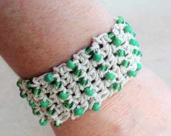 Handmade Crocheted Hemp Bracelet with Green Beads By Distinctly Daisy