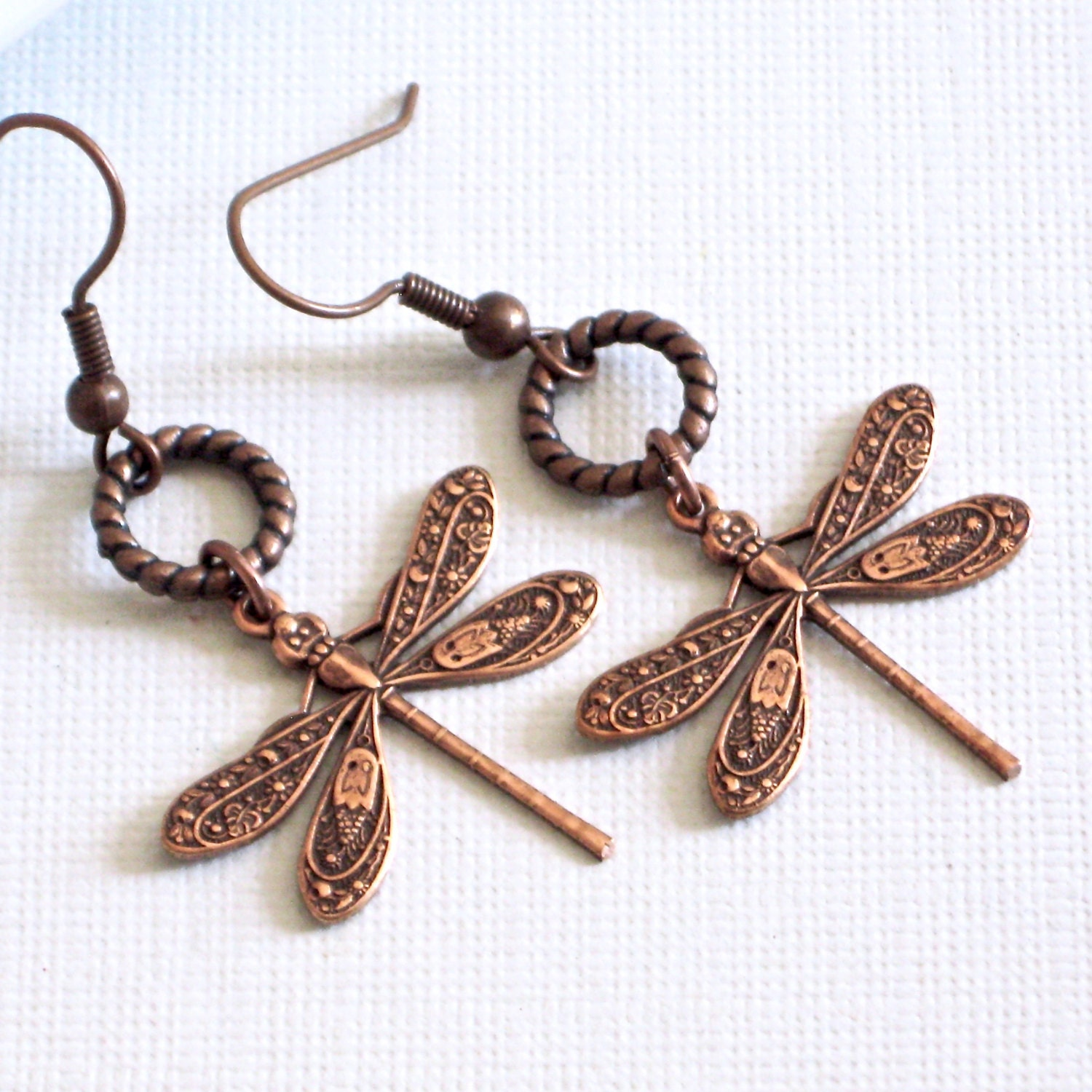 Copper Dragonfly Earrings Dragonfly Jewelry Nature Jewelry