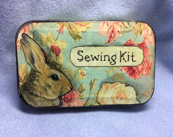 Cute Bunny Rabbit, Travel Sewing Kit, Altered Altoid Tin, Up-cycled art by Melody Lea Lamb