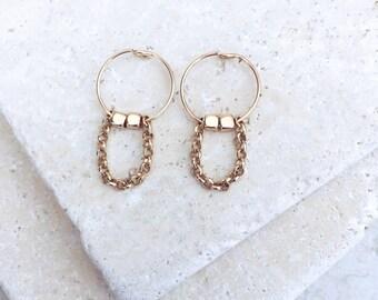 Dainty gold earrings, chain earrings, 14k gold filled earrings