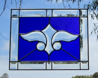 "Art Deco Cobalt Blue ""Thunderbird"" Stained Glass