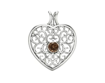 Smoky Quartz Pendant, 925 Sterling Silver. color brown, weight 1.9g, #46660