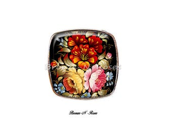 """Large square ring ° """"red black silver tone cabochon flowers"""