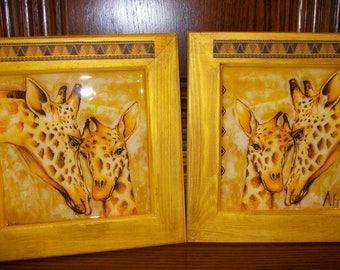 Set of two framed family giraffe
