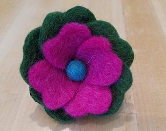 Wool Felt Flower Brooch, Flower Pin, Pink Flower, Gift for Her, Handmade, Unique Flower
