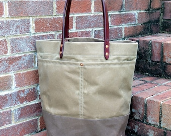 All Waxed Canvas Tote Bag with Leather Handles