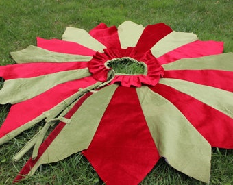 READY To SHIP Patchwork Tree Skirt 40' to 70' Christmas Tree Skirt Green Tree Skirt  UPS WORLdWIDE SHIPPINg in 3-4 Days