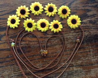 Mommy and Me matching SunFlower Bohemeian Flower Power Headbands   Flower Power - Flower Crown - Halo