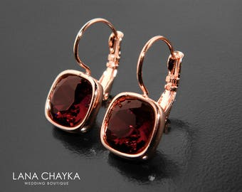 Burgundy Rose Gold Earrings Swarovski Burgundy Leverback Earrings Wine Pink Gold Earrings Marsala Wedding Crystal Jewelry Bridal Bridesmaids
