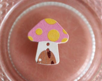 button mushroom pink and yellow wood