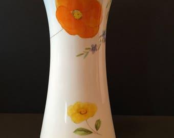 Mikasa Vase ~ Dancing Flowers ~ Bone China ~ Japan ~ Orange & White ~ Vintage