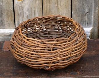 Vintage Twig Basket, Vintage Woven Basket, Primitive Basket