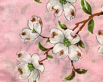 Dogwood Blossom Vintage 1950s Cotton Hankie