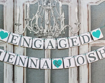 Engaged SIGNS, Rustic Engagement Banners, ENGAGED & NAMES Signs, Engagement party Decorations
