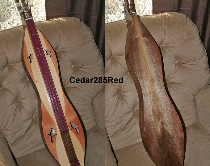 Custom Red Cedar Mountain Dulcimer, 4-string Hour-glass, Fret-board and Sound-holes choices, with optional Electric