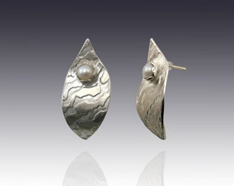 Leaf in the Wind - sterling silver print with white pearl and gold stud earrings