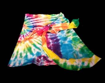 Unique Hand Tie-Dyed Rainbow Swirl Short Beach Sarong