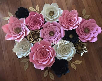 14 pc Paper Flowers, backdrop, candy buffet, decor, Customize your colors!