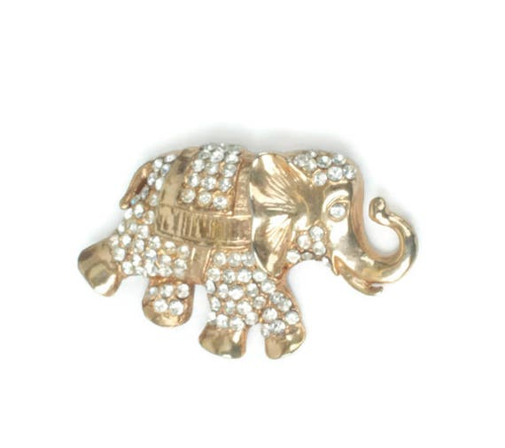 Rhinestone Elephant Pendant Gold Tone Clear Crystals Trunk Up Lucky Elephant Vintage