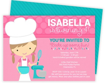 Cooking Invitation, Cooking Party, Cooking Party Invitations, Baking Invitation, Baking Party Invitations, Baking Party, Chef Party | 366