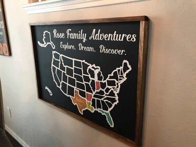 Large Usa Map Travel Tracker Colorable Wooden Usa Map Usa