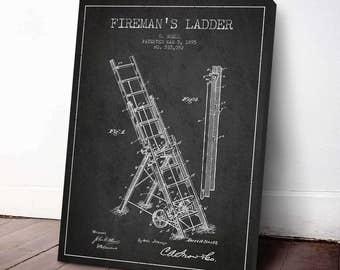 1895 Fireman's Ladder Patent, Firefighter Poster, Firefighter Print, Fireman Wall Decor, Home Decor, Gift Idea, PFFD13C