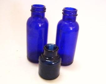 3 Vintage Cobalt Blue Glass Bottles - 2 Bromo Seltzer and One is Ink Bottle