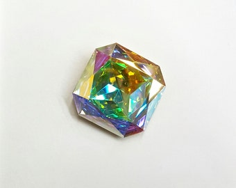 1 Piece Crystal AB Swarovski Stone, Article #4675, Vintage, 23mm Square Octagon