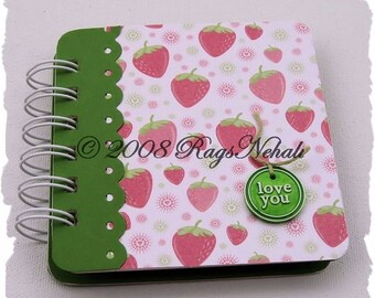 Strawberry - love you -Pink Green - Post It Note Holder Planner