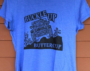 "JEEP ""Buckle Up Buttercup"" Tribal Tattoo LADIES Tri-Blend S/S T-Shirt (S-XL)"