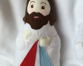 Divine Mercy Doll Handmade Soft Saint Doll, Fleece Jesus Doll.
