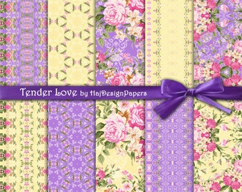 """Rose digital paper : """"Tender Love"""" floral digital paper with pink roses on purple and yellow background, shabby chic digital paper"""