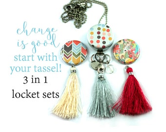 Tassel Necklace, Gift for Teen | 3 Interchangeable Tassels, 3 Magnetic Lids, Long Tassel Locket, Recycled Steel, Custom Initial, Teen Tassel