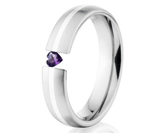 Tension Set Ring, 5mm, Uniequly You, Two Toned Titanium and Sterling Silver, Heart Amethyst, 5HR11G-SS-BR-HRT