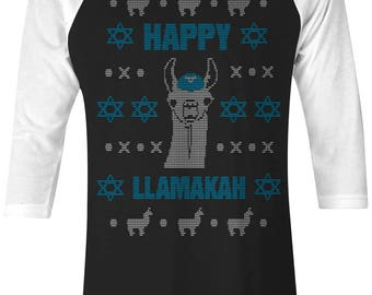 Happy Llamakah Llama Hanukkah Ugly Sweater Unisex Adult Raglan T-Shirt
