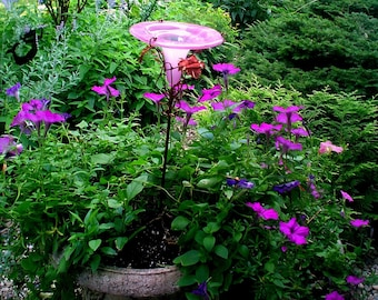 Patio Gardening, Hummingbird Feeder, stained glass, copper, Rose PINK,  Outdoor Home and Living, Garden Stake