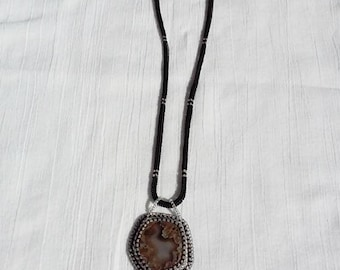 Unique agate necklace/pendant. Silver,black and grey. Crystals.Hand made, beadwoven