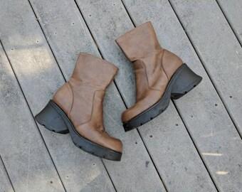 Vintage 90's Brown Leather Platform Boots, 8