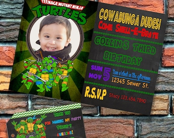Digital FIle Turtle Birthday Party Invitation