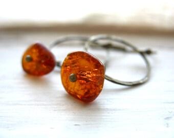 Amber Earrings, Baltic Amber Hoop Gemstone Earrings, Handmade Metalwork Stone Dangle Drop Earrings