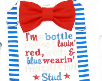 Baby boy first fourth of July American stud onesie with matching blue striped suspenders red bow tie, Baby boy first July 4th bodysuit