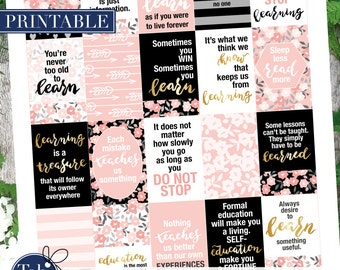 Printable quotes planner stickers for Mambi Happy Planner. Never stop learning, sleep less read more, learn something useful quotes.