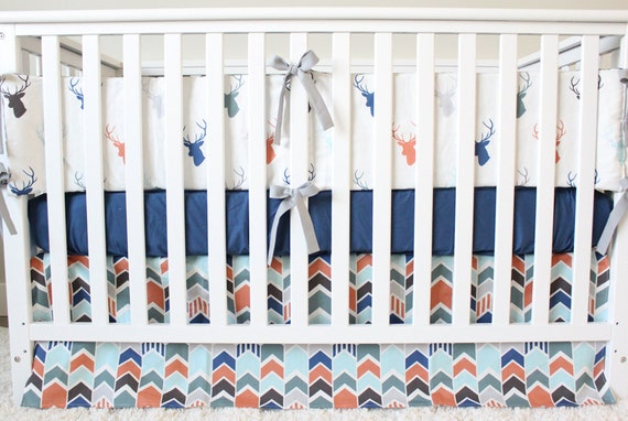 Woodlands Nursery Crib Bedding Set Baby Boy Deer Buck Blue Fitted Sheet Navy Mint Orange Bumper Pad Arrow Skirt