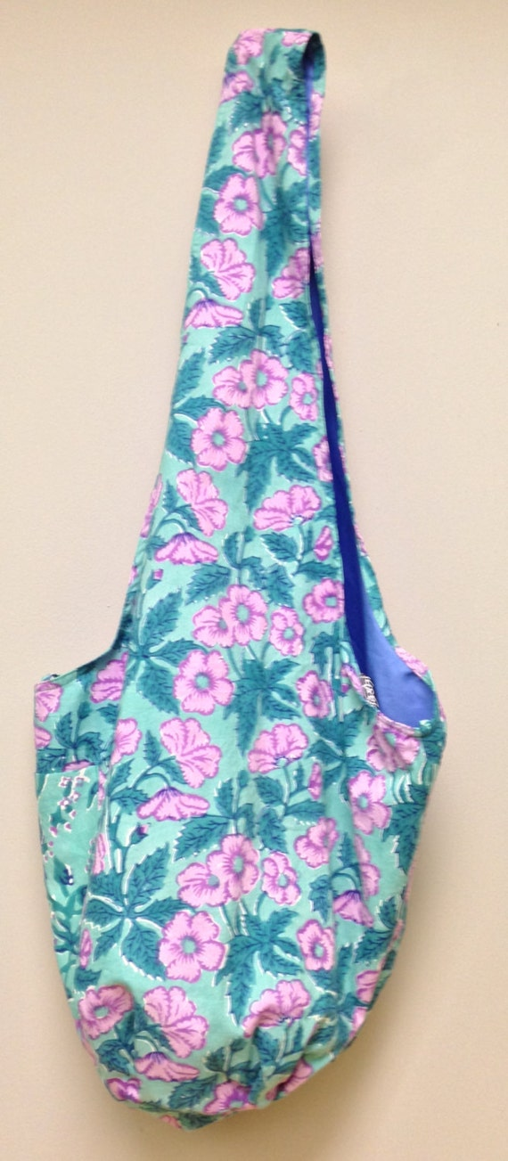 India Bag Blue Floral Shoulder Bag Handmade Cotton Hand Sewn Colorful Hand Stamped Fabric Gift for Her India Fun Shoulder Bag