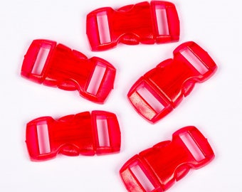 5 clips red plastic translucent 15mm