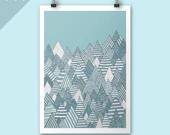 Winter Forest / A4 print / Art print / Illustration / Contemporary art / Christmas art / mountains art print